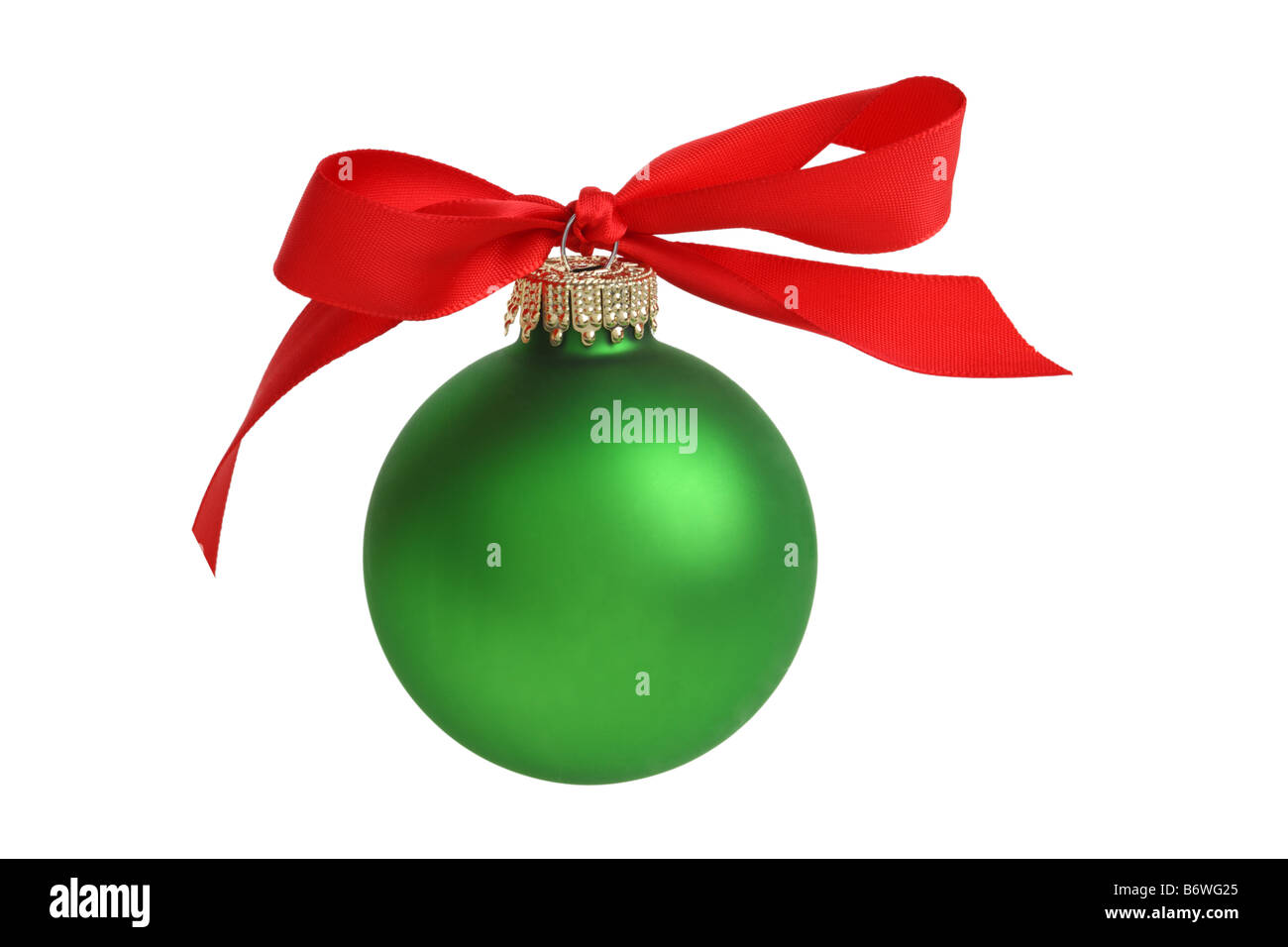 Christmas ornament with bow cut out isolated on white background - Stock Image