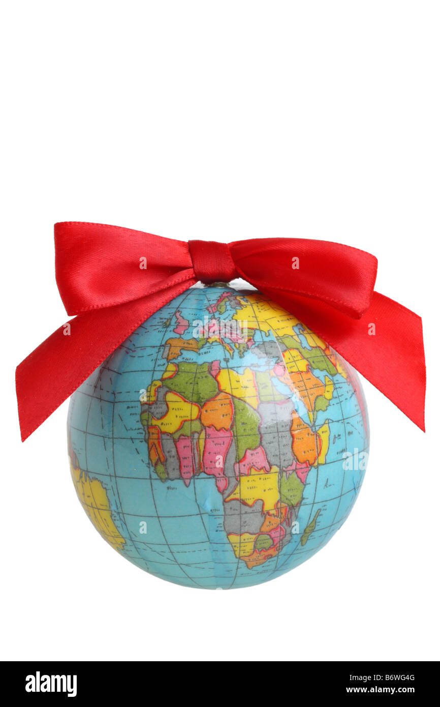 Earth world ornament with red bow cut out isolated on white background - Stock Image