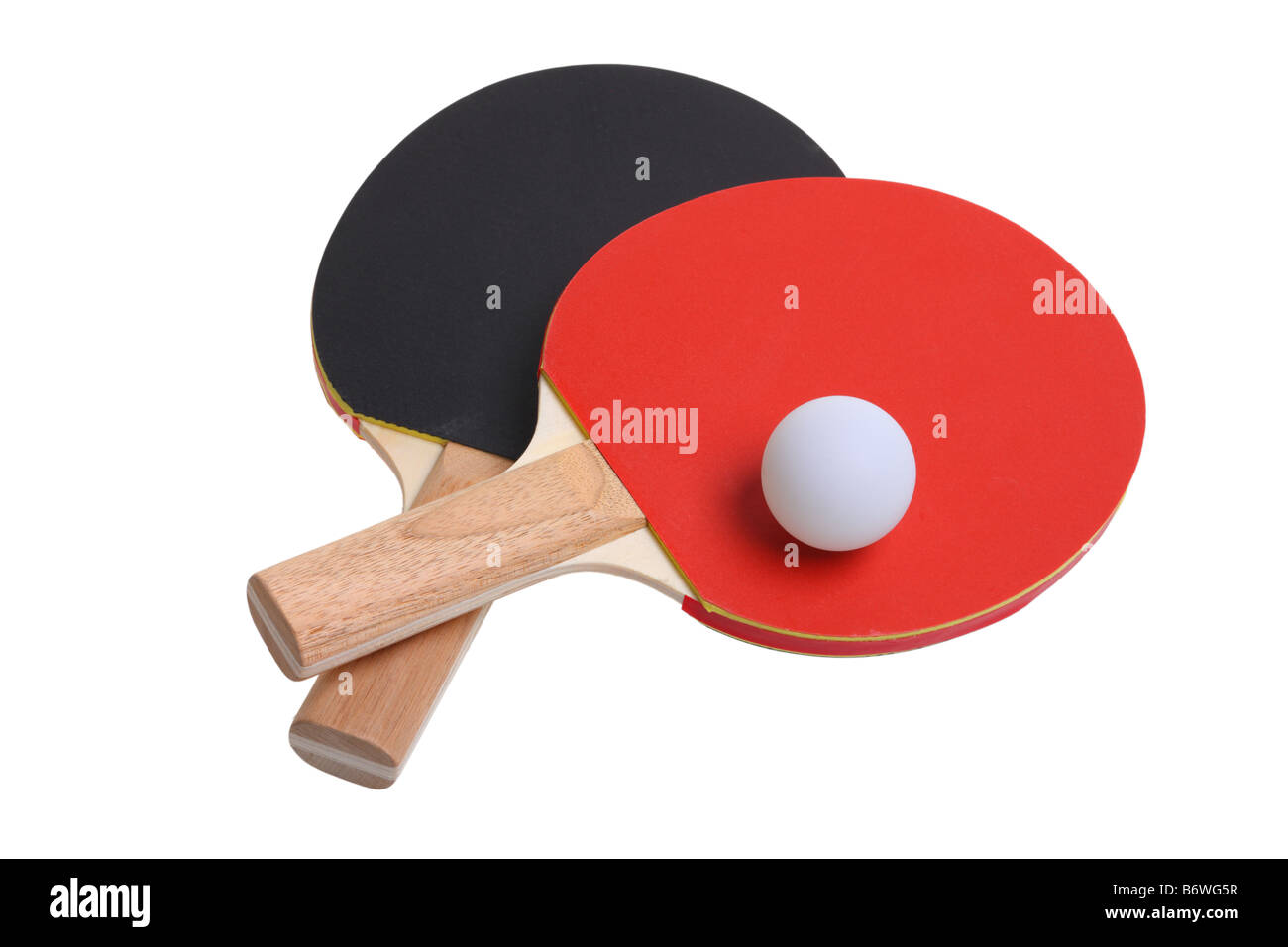 Ping Pong paddles and ball cut out isolated on white background - Stock Image