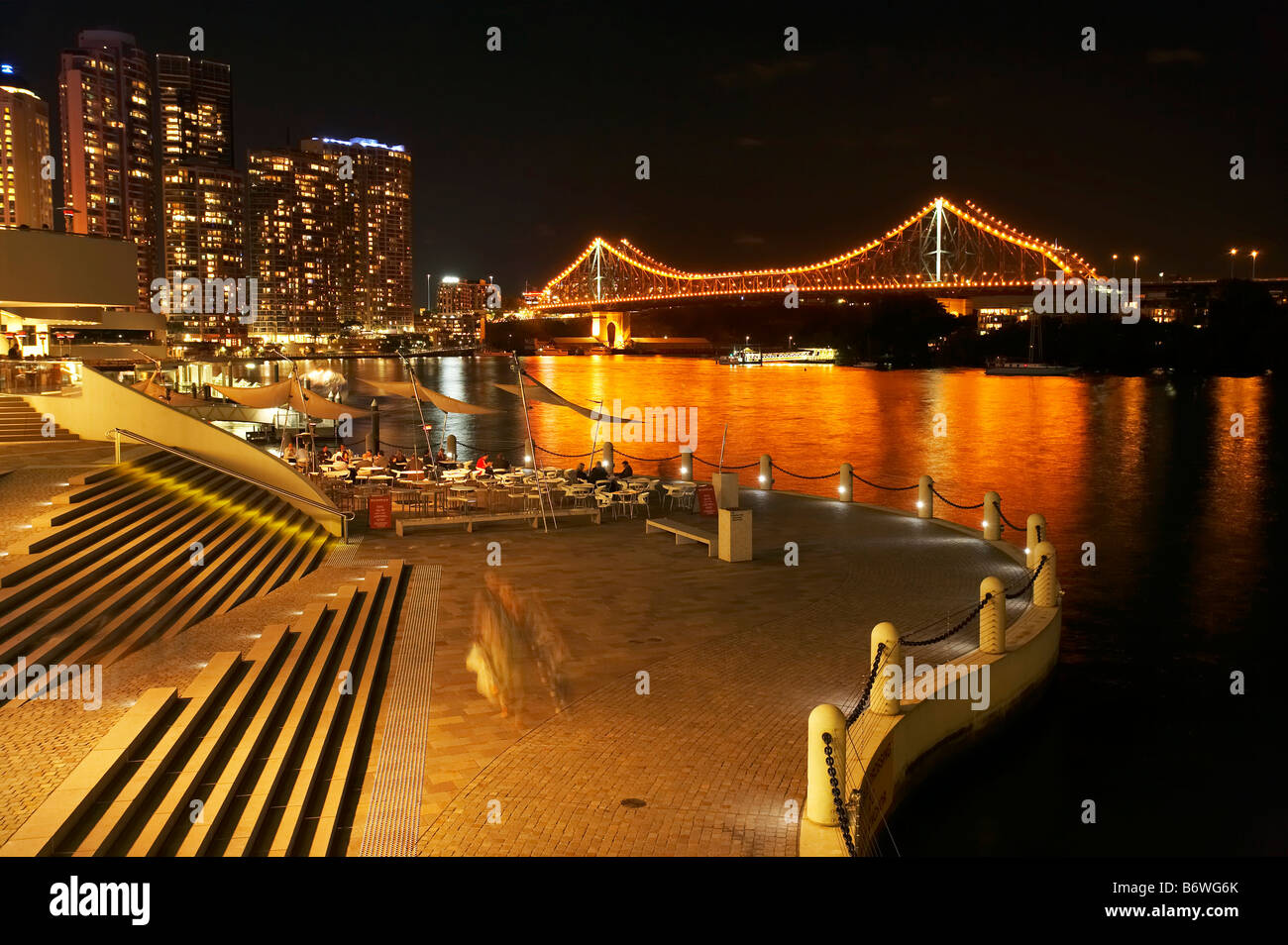 Brisbane Waterfront Brisbane River and Story Bridge at Night Brisbane Queensland Australia - Stock Image