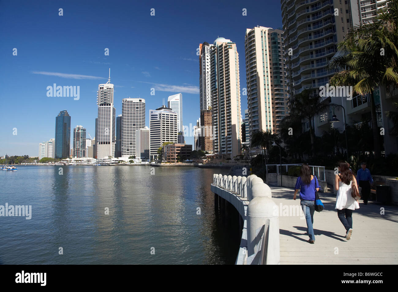 Riverside Promenade and Brisbane River Brisbane Queensland Australia - Stock Image