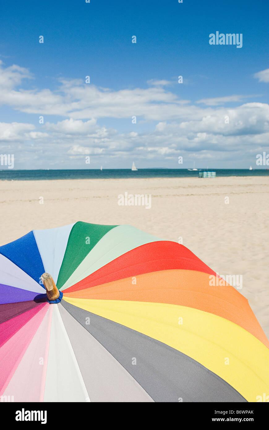 Umbrella on beach - Stock Image