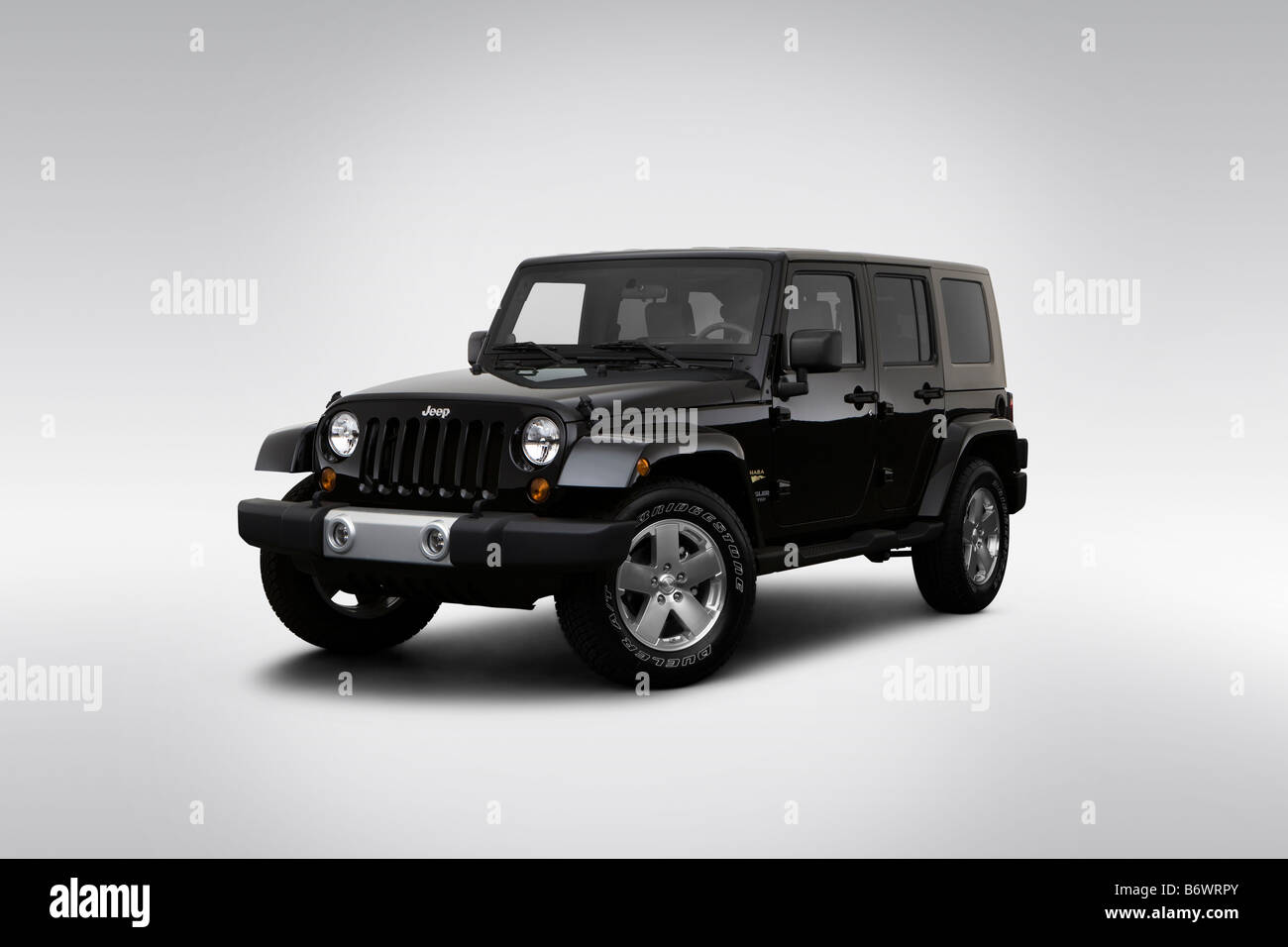 2009 Jeep Wrangler Unlimited Sahara in Black - Front angle view