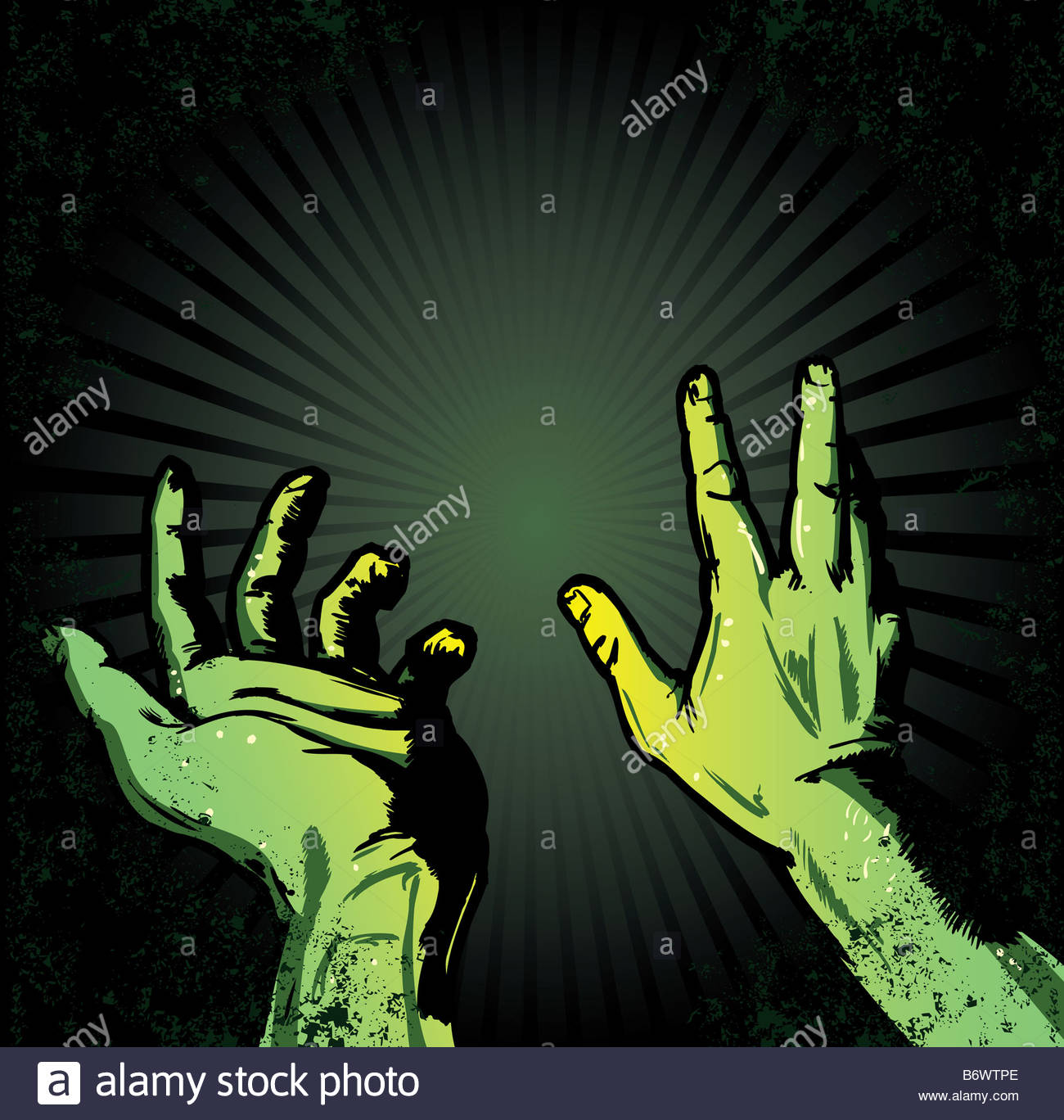 hands in fear of the light halloween style illustration stock photo