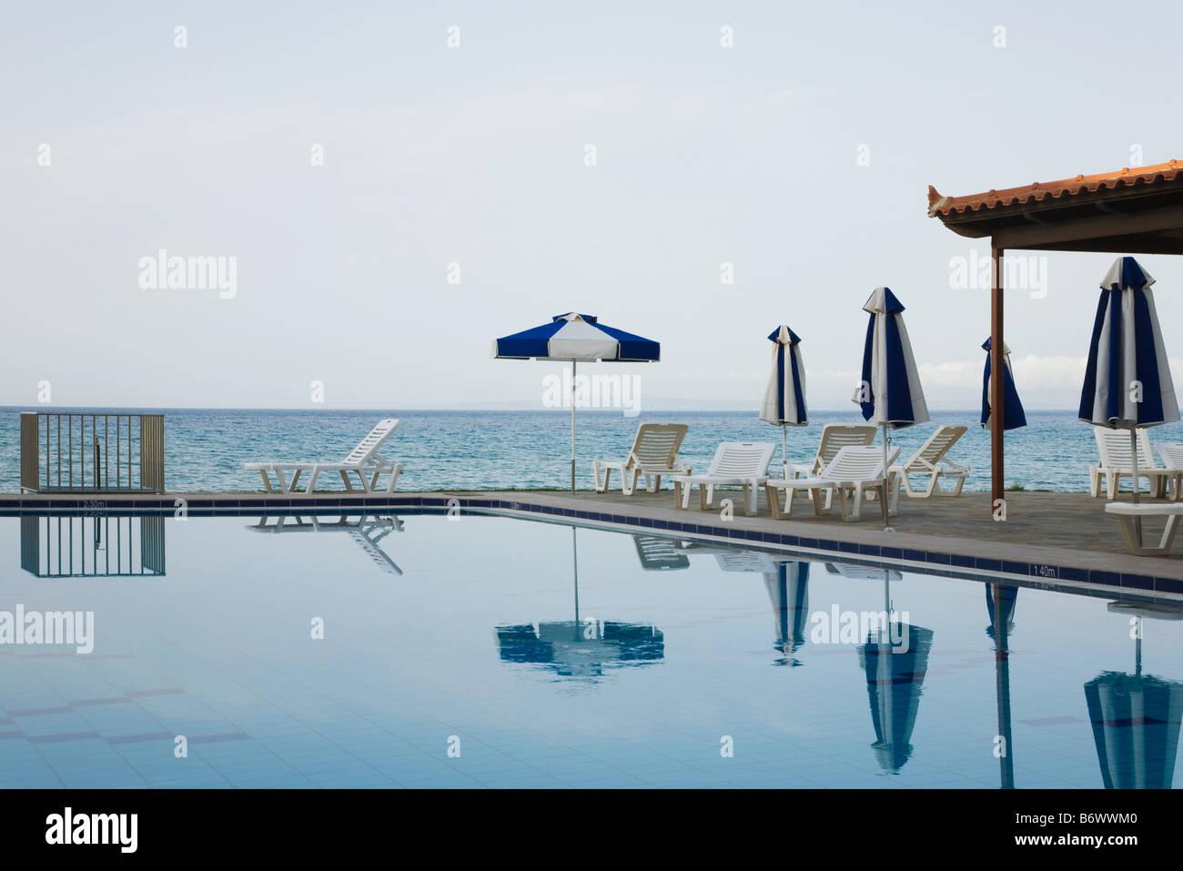 Swimming pool near the sea Stock Photo