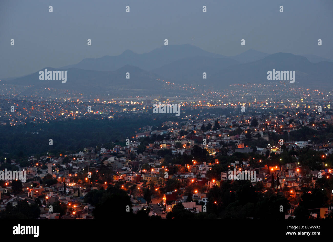 Mexico, Mexico City. View over Mexico City at dawn. - Stock Image