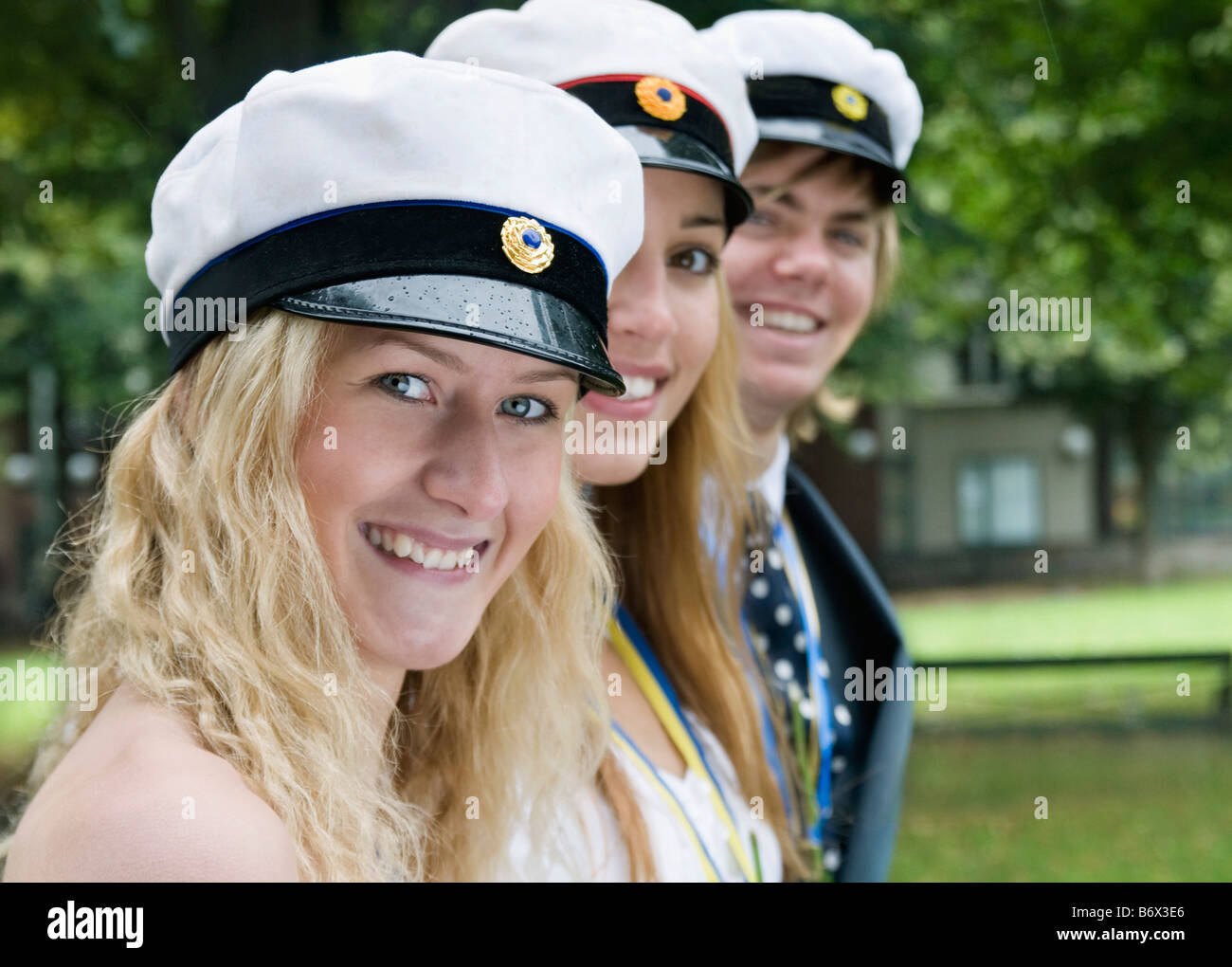 Students in a row outside - Stock Image