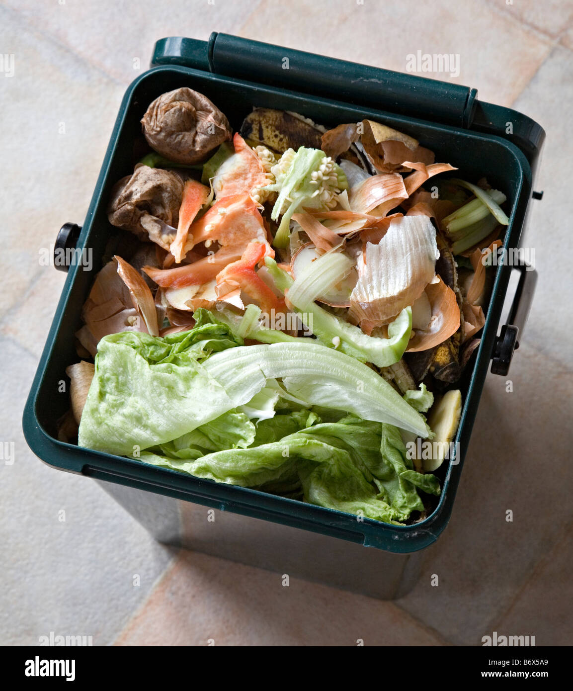 Beau Food Scraps In Kitchen Recycling Compost Bin Wales UK