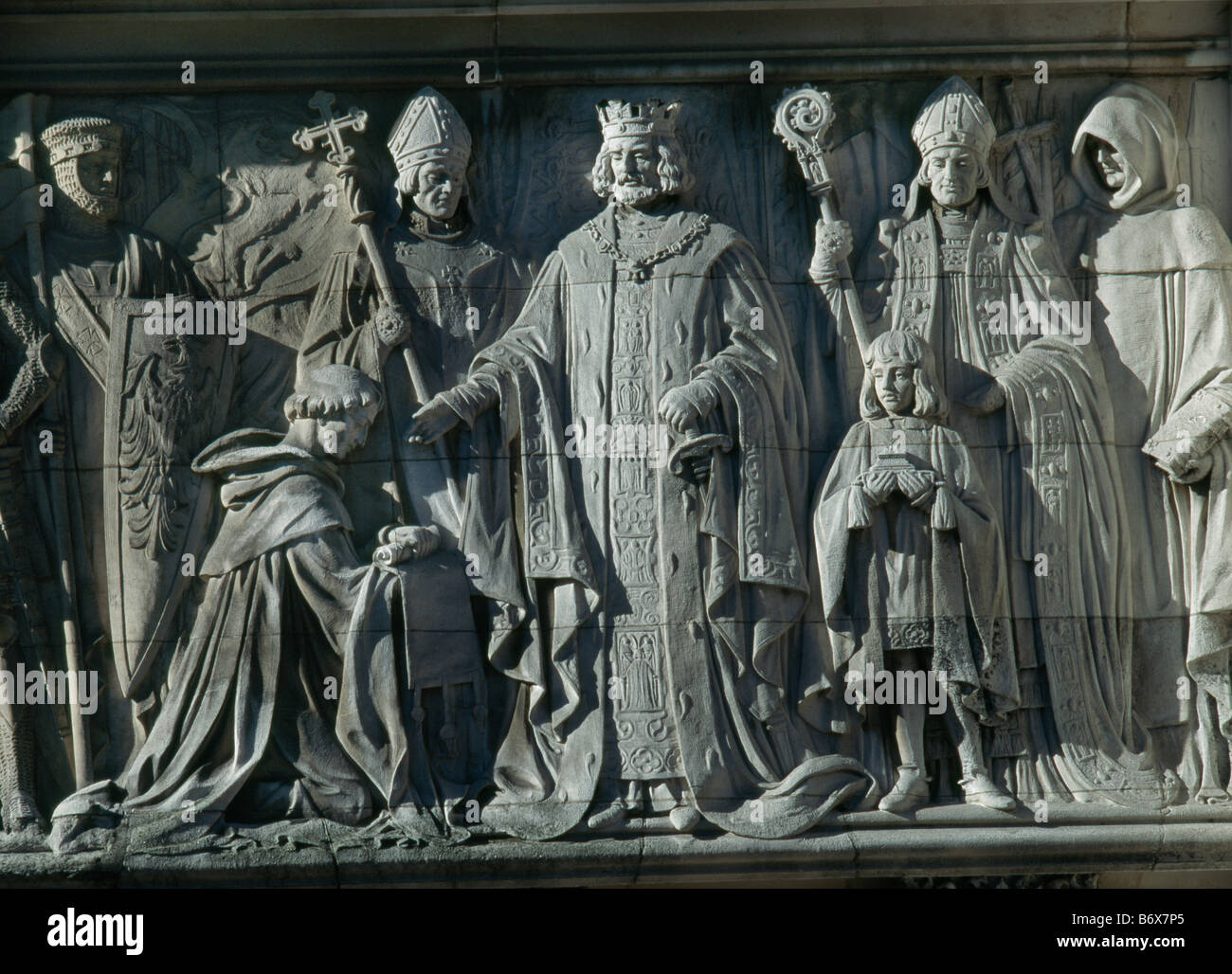 Middlesex Guildhall Frieze - Stock Image