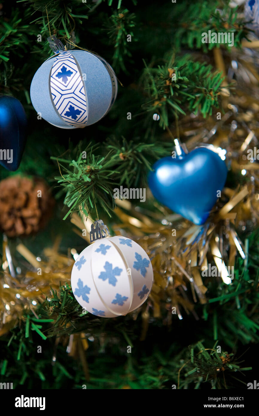 Christmas decorations with tinsel - Stock Image