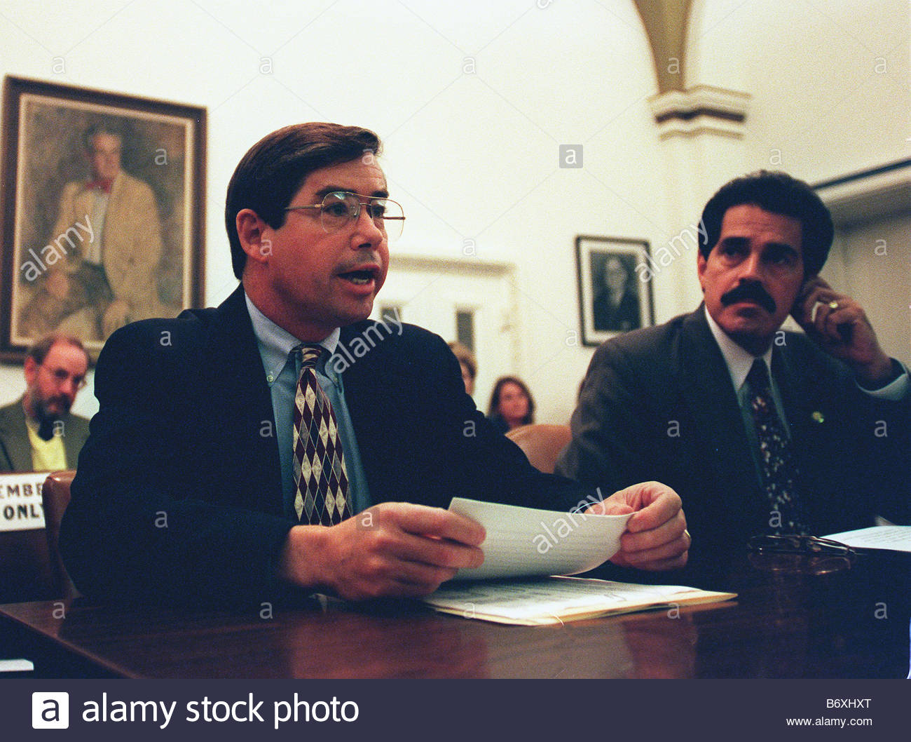 9 23 97 COMMITTEE ON RULES James T Walsh R N Y and Jose E Serrano D N Y during the House Rules Committee meeting - Stock Image
