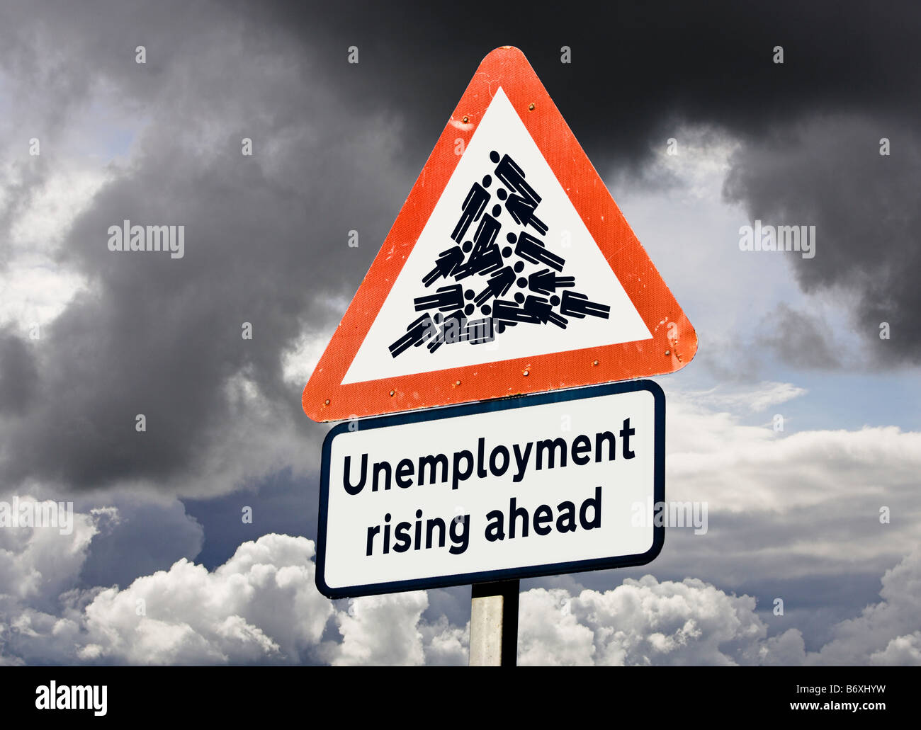 Concept sign for rising unemployment job losses UK against a stormy sky - Stock Image