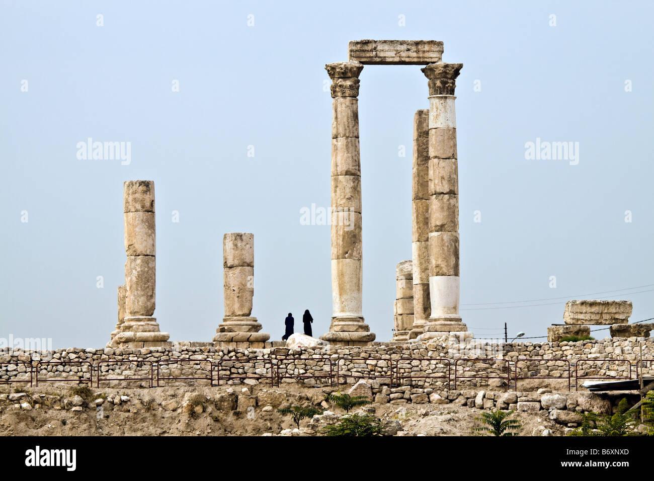 Amman citadel Jordan. Hercules temple. Roman time period - Stock Image