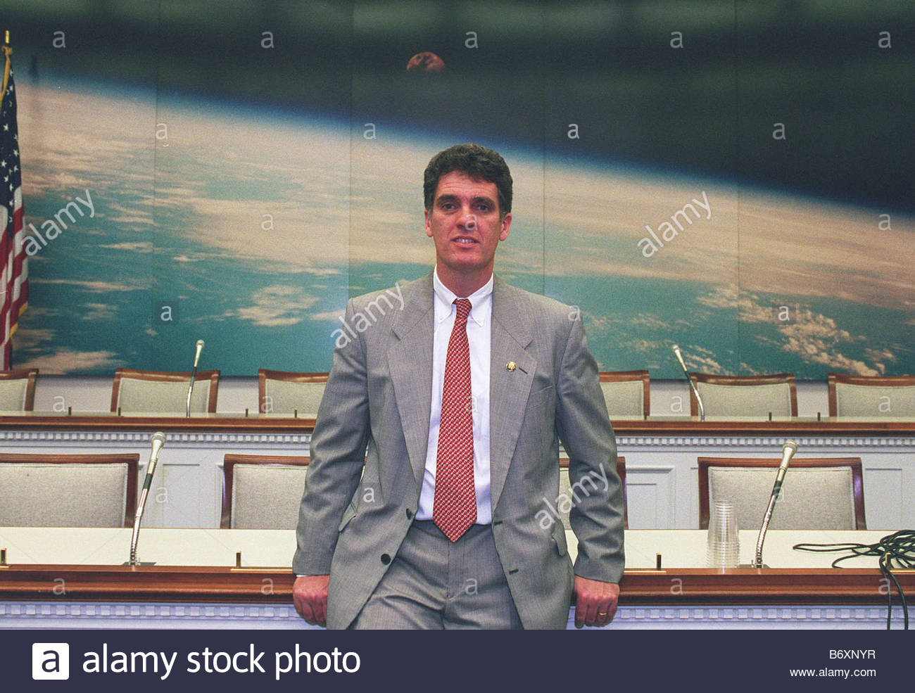 5 98 NASA Rep Dave Weldon R Fla whose district is home to Cape Canaveral and the Kennedy Space Center in the meeting - Stock Image