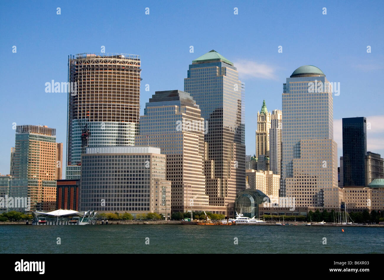 Modern office buildings skyscrapers along lower West Side in New York City New York USA - Stock Image