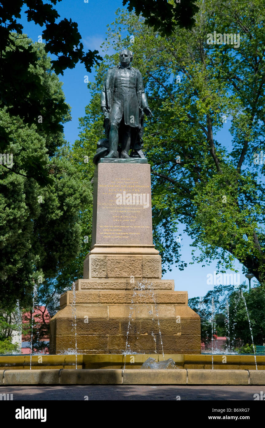 Monument to Sir John Franklin governor of Tasmania and Arctic explorer in Franklin Square in Hobart - Stock Image