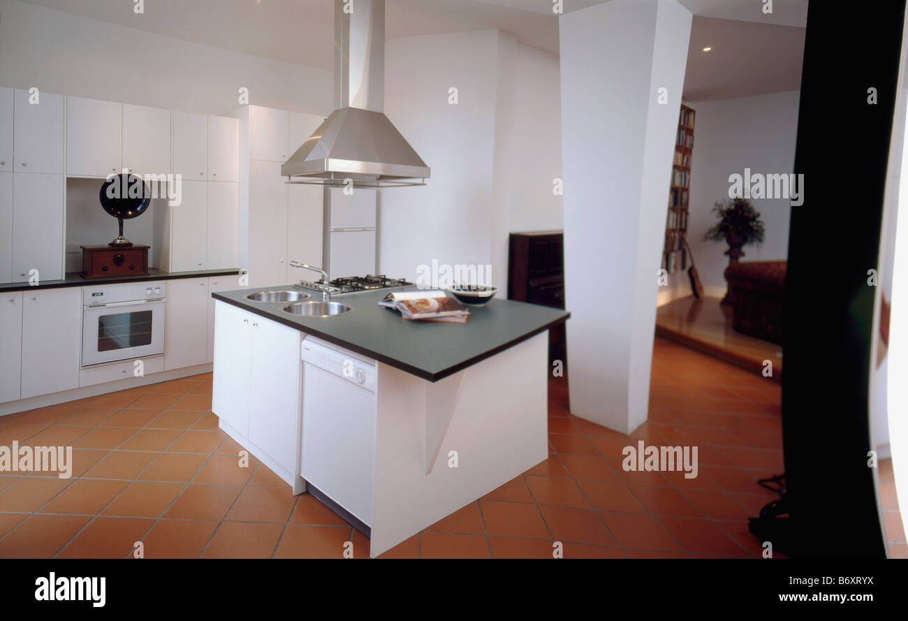 Stainless steel extractor above white island unit with black worktop stainless steel extractor above white island unit with black worktop in large modern white kitchen with quarry floor tiles workwithnaturefo