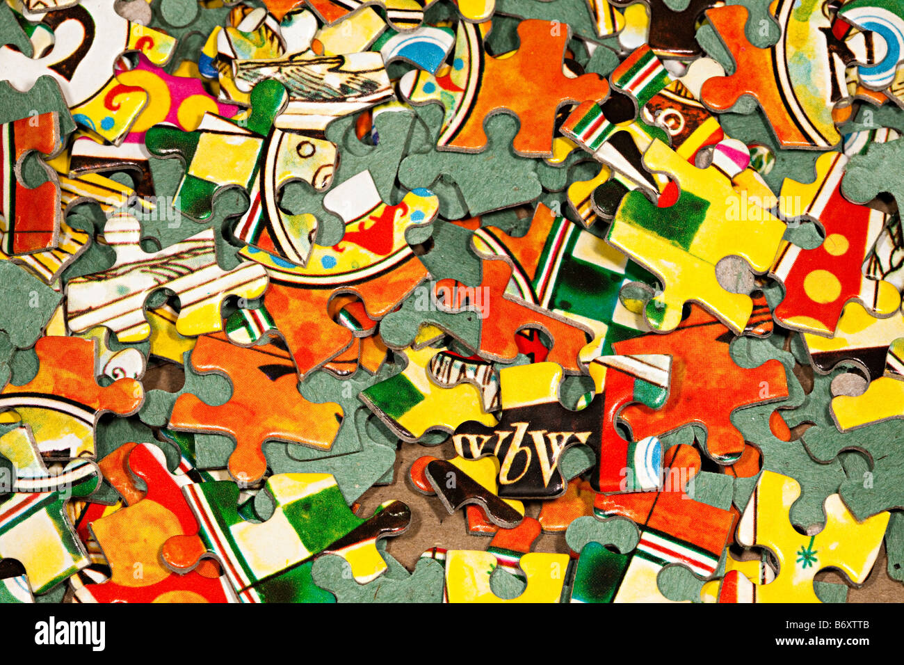 Pieces of jigsaw puzzle - Stock Image