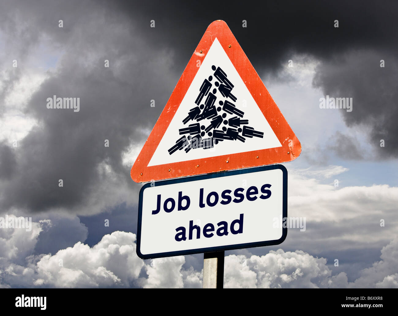 Economy warning unemployment job cuts concept UK - Job Losses Ahead sign - Stock Image