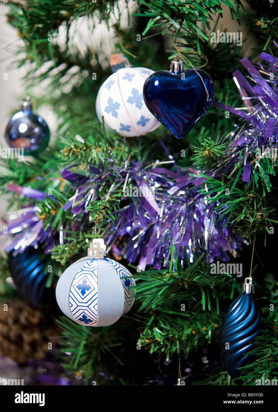Christmas Ball Baubles Blue Gold Stock Photos & Christmas Ball ...