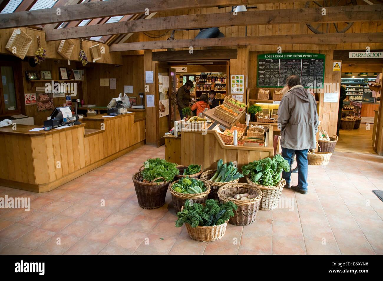 lobbs farm shop near mevagissey cornwall - Stock Image