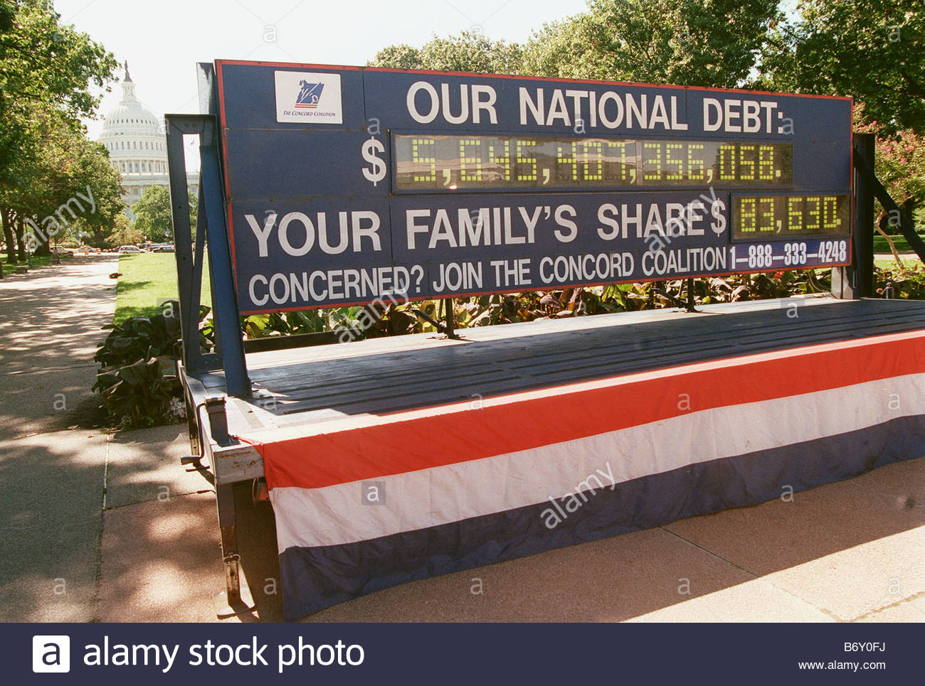 10 1 99 NATIONAL DEBT After a news conference highlighting the national debt Concord Coalition s debt clock sits - Stock Image