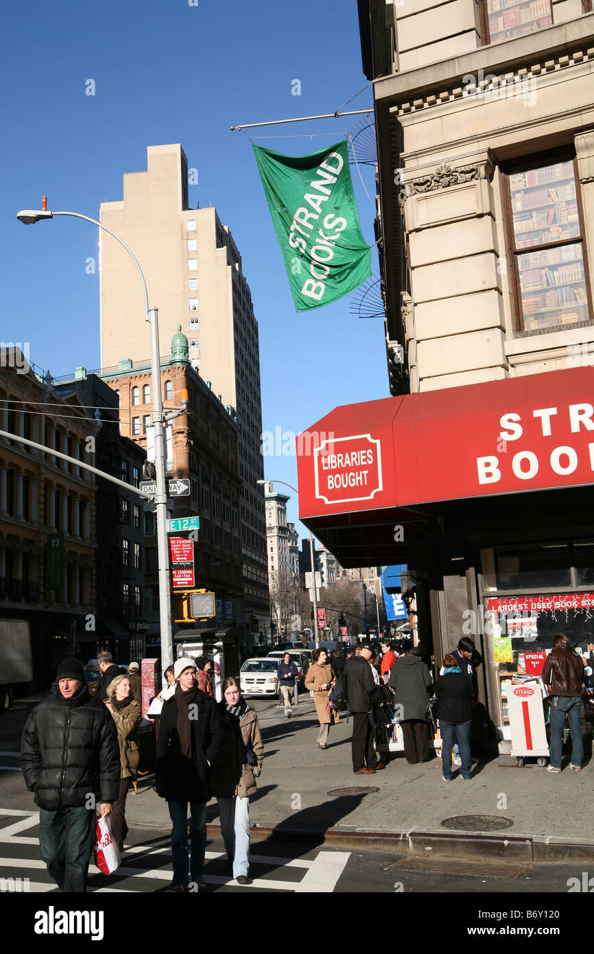 Broadway in lower Manhattan, showing the Strand Bookstore, one of the world's largest and most famous book shops. - Stock Image