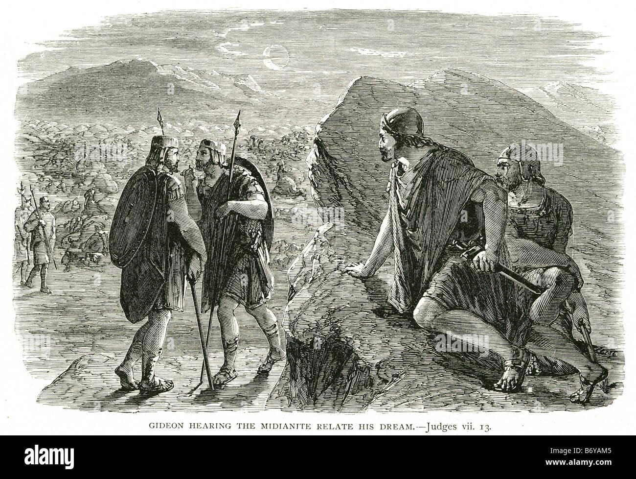gideon hearing the midianite relate his dream Jerub-Baal Book of Judges Bible Epistle Hebrew faith - Stock Image
