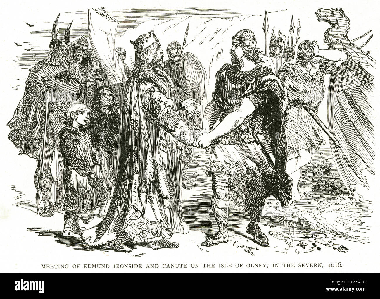 meeting of edmund ironside and King Canute on the isle of olney in the severn 1016 Danish invasion - Stock Image