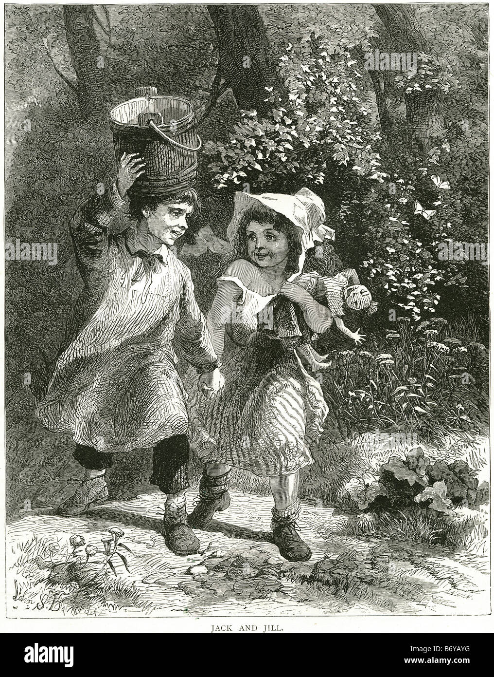 jack and jill classic nursery rhyme hill fetch pail water broke his crown tumbling eighteenth century - Stock Image