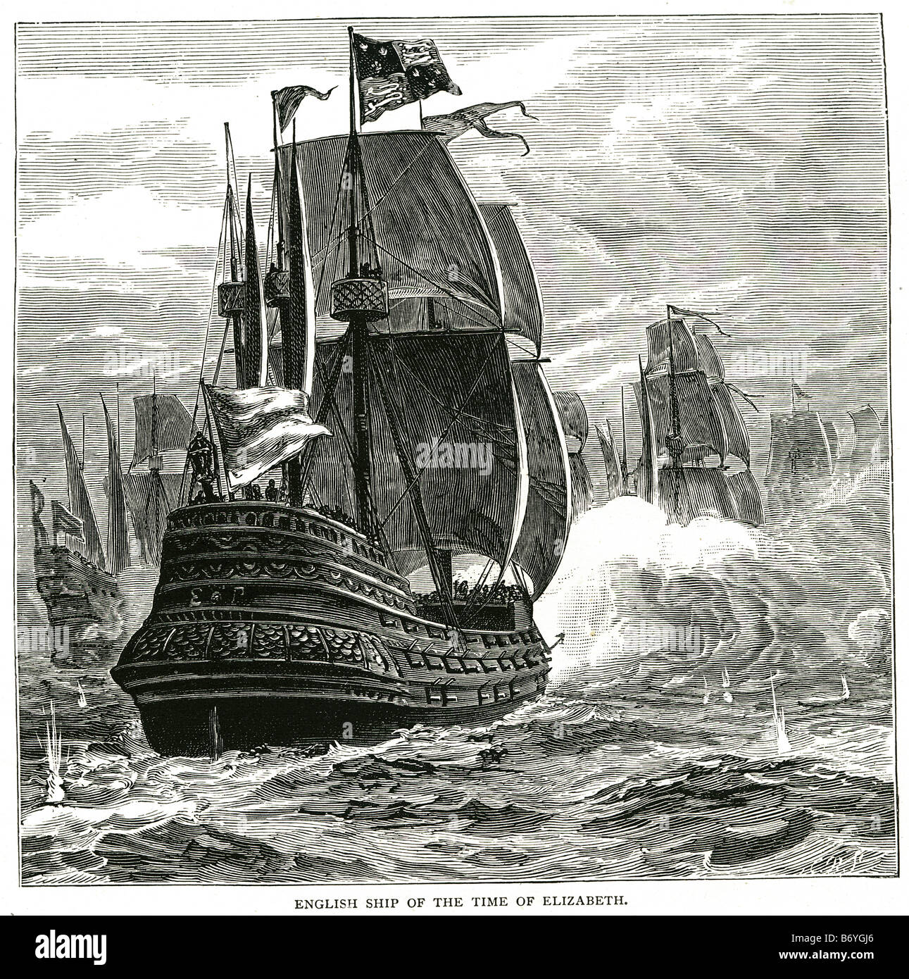 english ship of the time of elizabeth The Royal Navy of the United Kingdom is the oldest of the British armed services - Stock Image