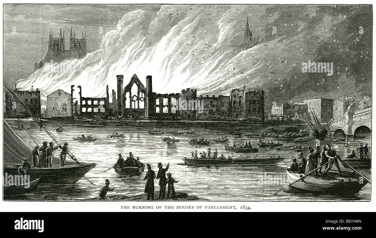 burning of the houses of parliment 1834 Westminster Hall Jewel Tower crypt of St Stephen's Chapel - Stock Image