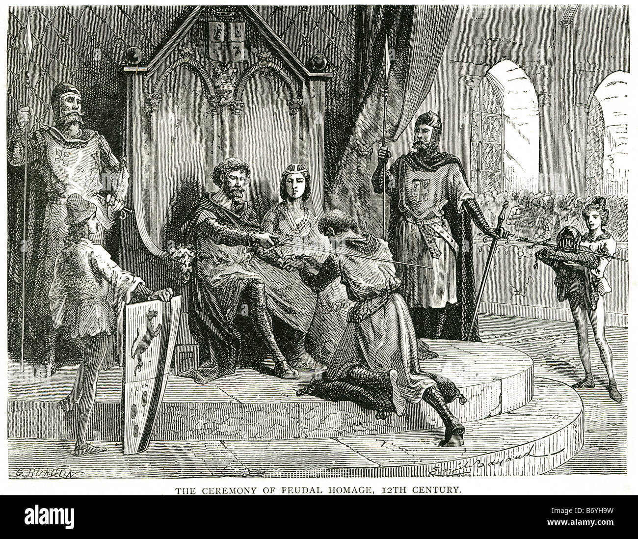 the ceramony of feudal homage 12th centuary Homage in the Middle Ages was the ceremony in which a feudal tenant - Stock Image