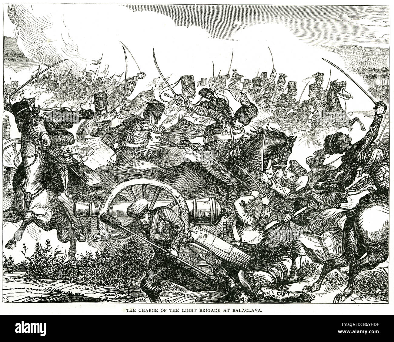 the charge of the light brigade at balaclava 25 October 1854 Crimean War Anglo-French-Turkish campaign - Stock Image