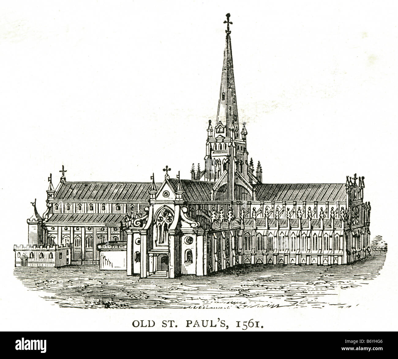 old st. paul's 1561 Gothic cathedral City of London Great Fire Stock Photo
