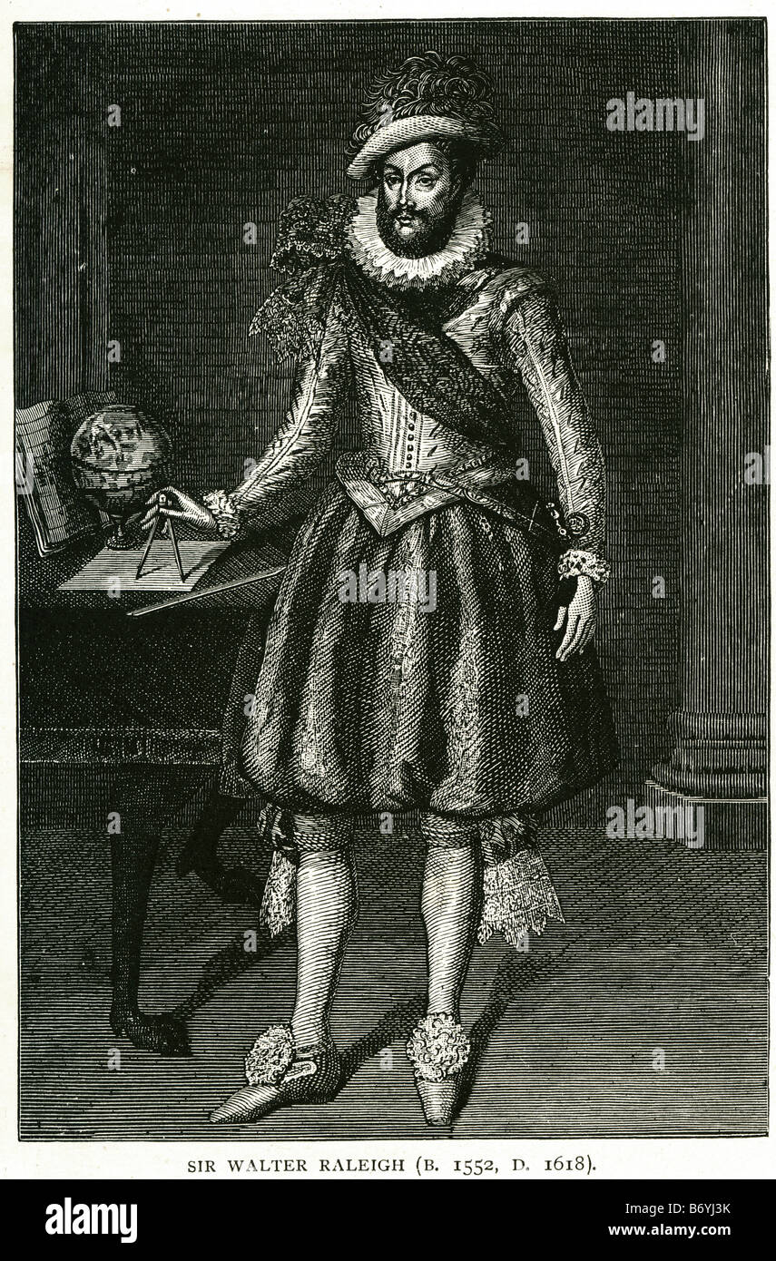 Sir walter raleigh 1552 1618 English writer poet soldier courtier explorer - Stock Image