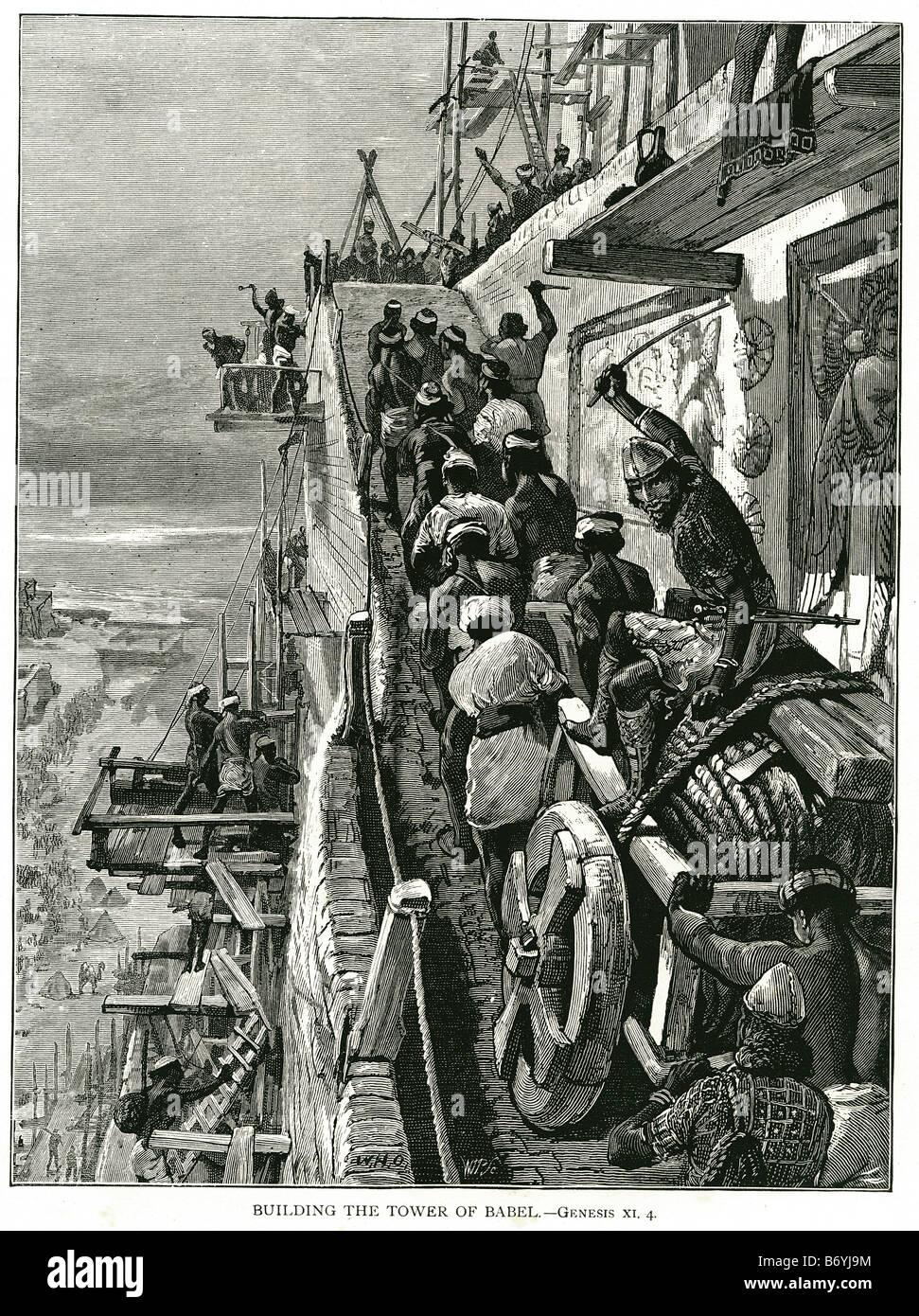 building the Tower of Babel Hebrew: מגדל בבל Migdal Bavel Arabic: برج بابل Burj Babil chapter 11 Genesis was an - Stock Image