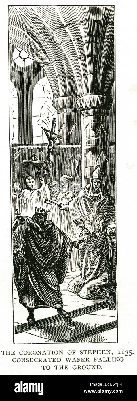 the coronation of Stephen 1135 consecrated wafer falling to the ground 1096 – 25 October 1154 - Stock Image