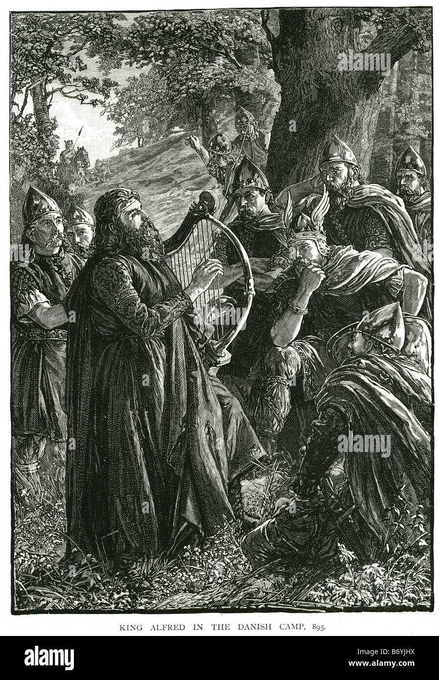 King Alfred the Great in the Danish Camp 895 Anglo-Saxon kingdom - Stock Image