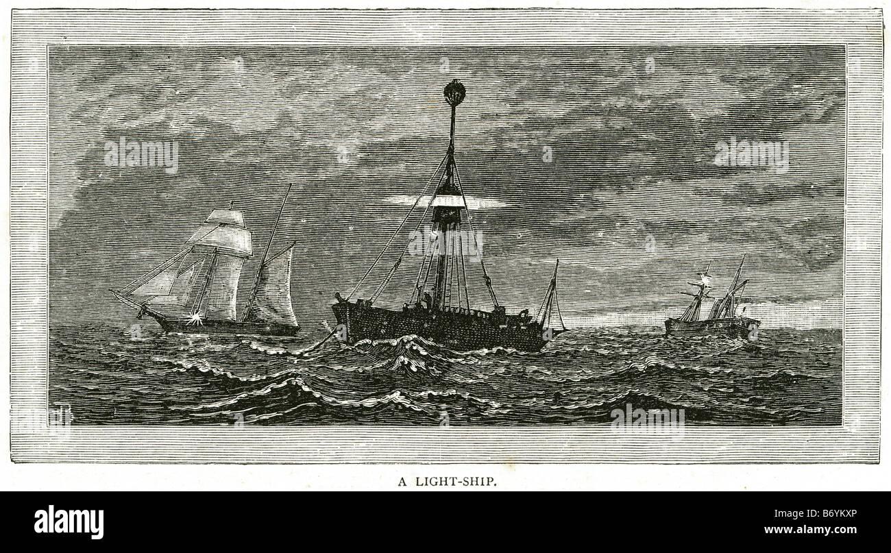 light ship Water trade transport sail coast sailing bay boat rowing ocean sea storm marine - Stock Image