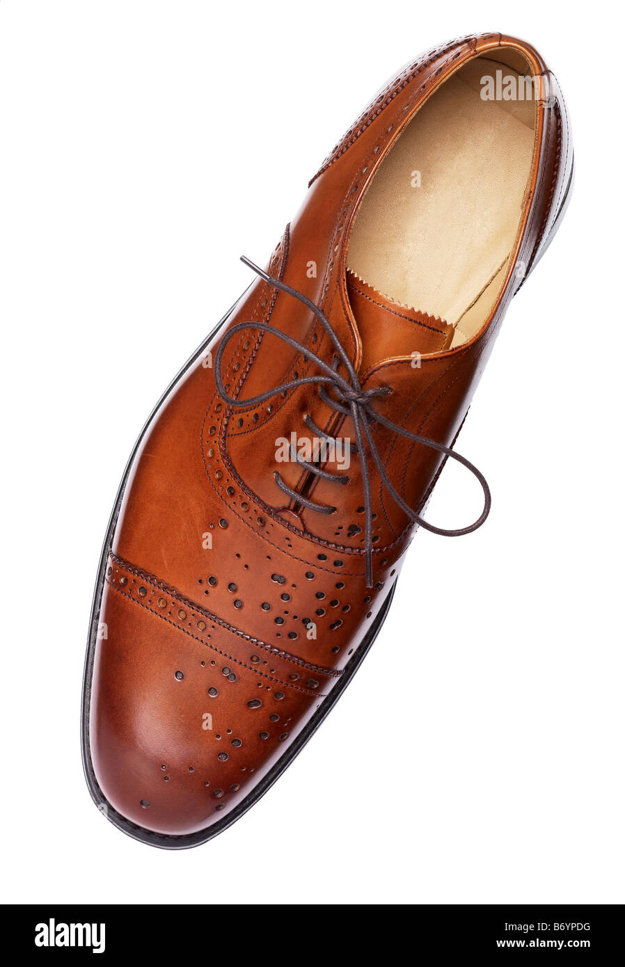 Brown leather brogue shoe - Stock Image
