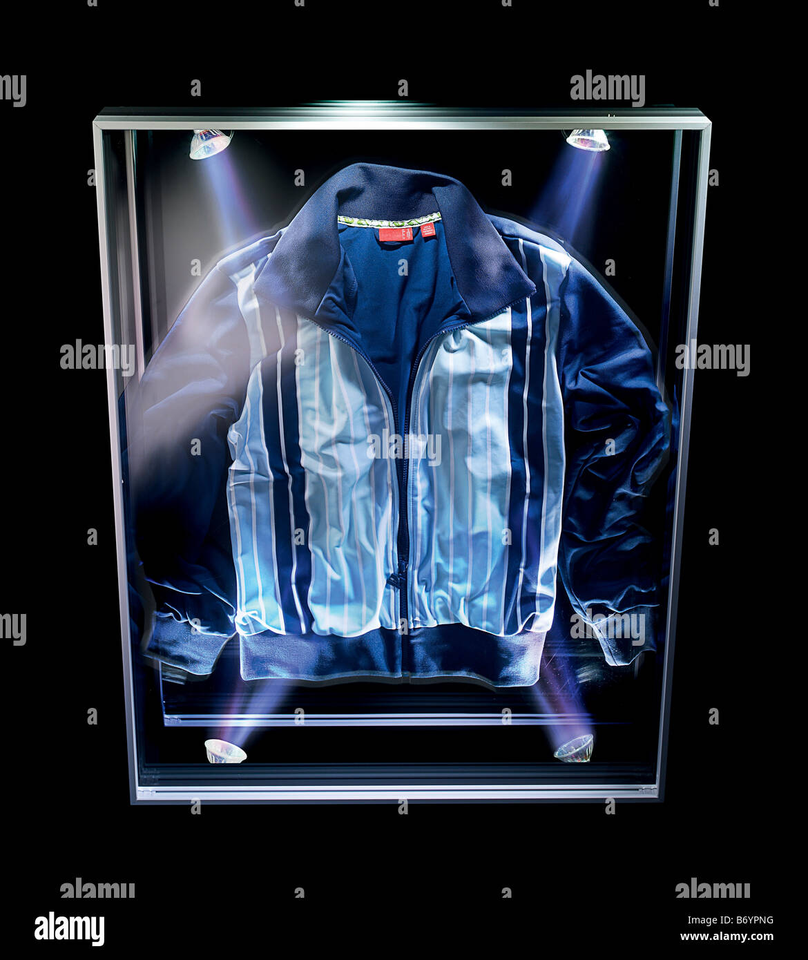 Tracksuit top in a museum case - Stock Image