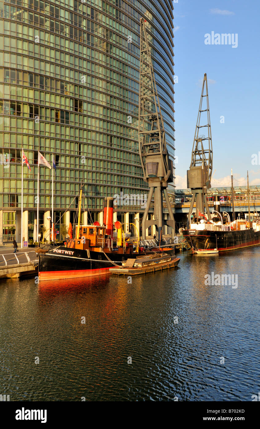 West india quay, Canary wharf estate, London  E14, United Kingdom Stock Photo