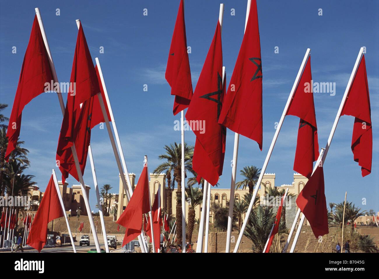 Flags, Flag of Marocco, Zagora, Draa Tal, Marocco, Africa - Stock Image