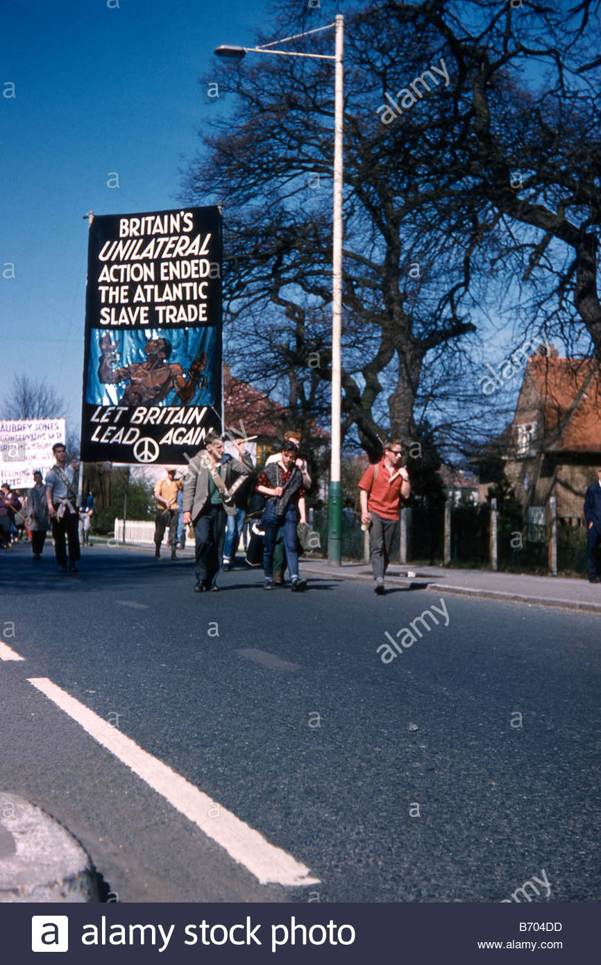 Anti-slavery banner at CND (Campaign for Nuclear Disarmament) Aldermaston March, 1962 - Stock Image