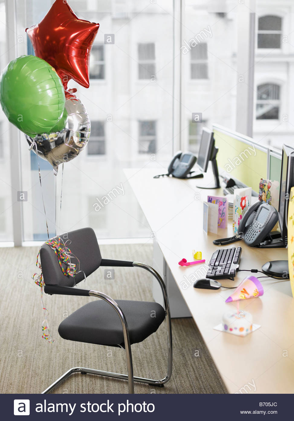 birthday balloons tied to office chair stock photo 21517396 alamy rh alamy com office chair ballymoney Balloon Chair Flight