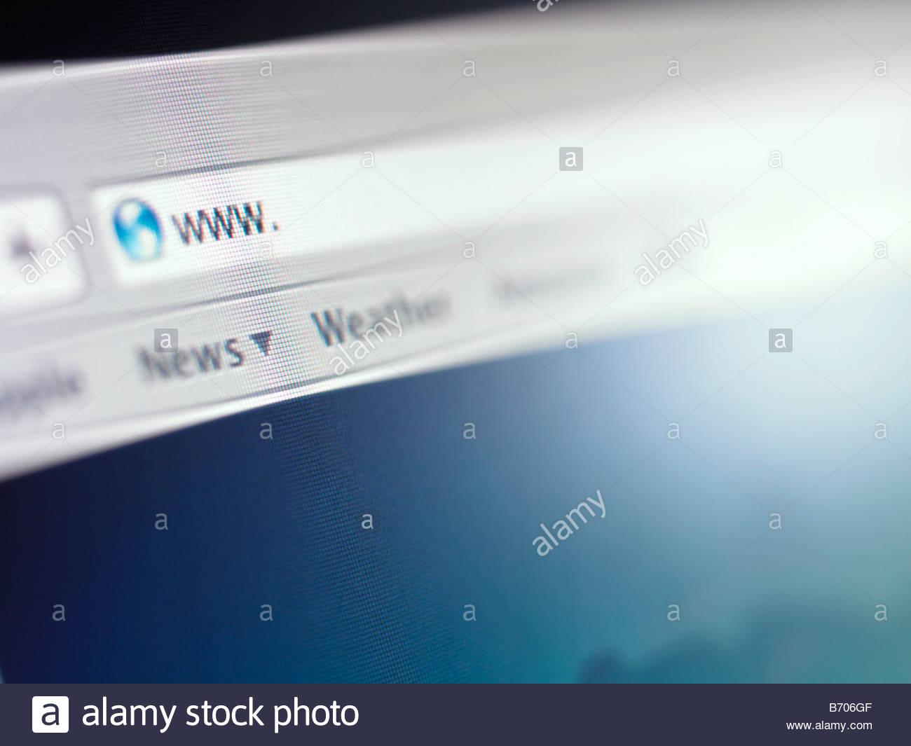 Close up of address bar on internet browser - Stock Image