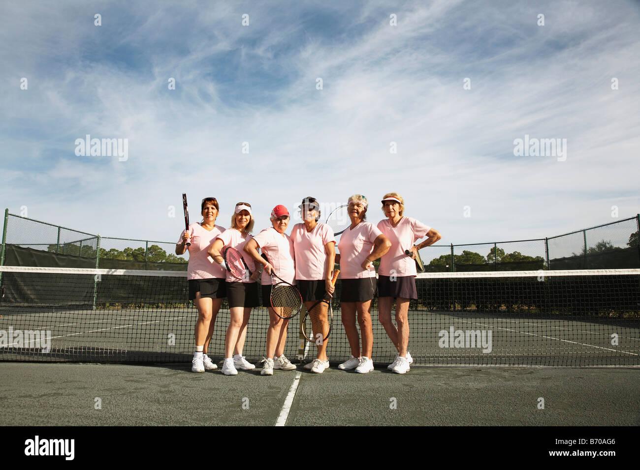 Women playing tennis in Ft. Pierce, Florida. - Stock Image