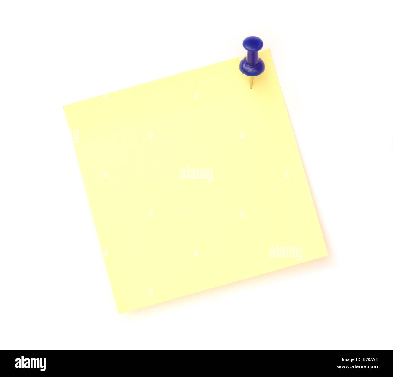 yellow note over white background with blue pin - Stock Image
