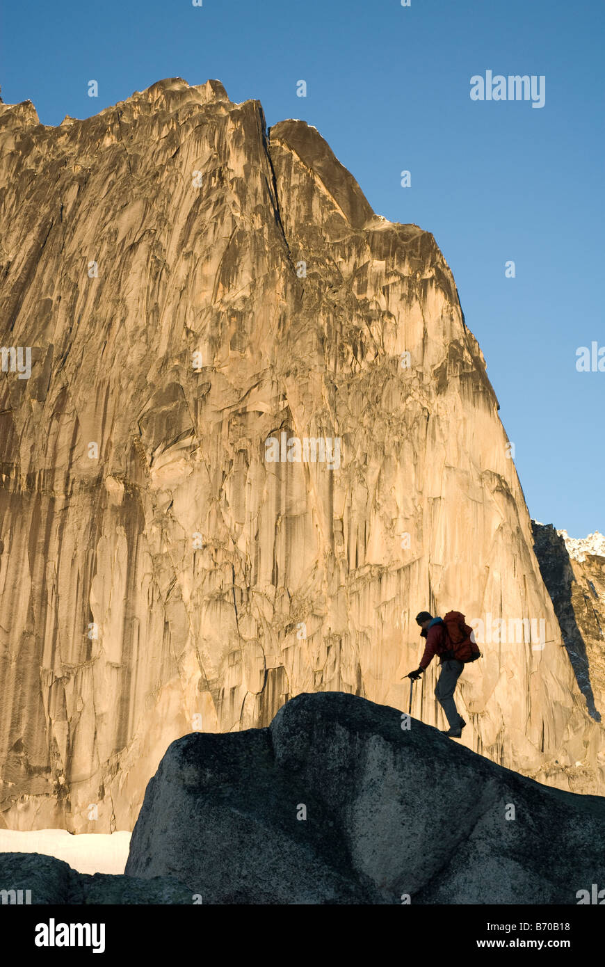 Man mountaineering in the Bugaboo Provincial Park, British Columbia, Canada (silhouette). Stock Photo